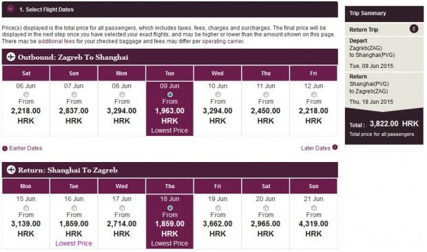 Zagreb >> Shanghai >> Zagreb, na Qatar Airways stranicama