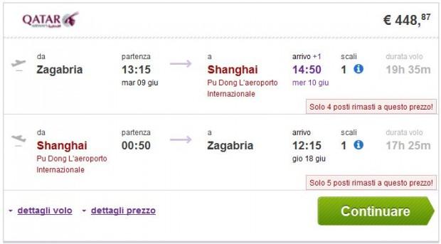 Zagreb >> Shanghai >> Zagreb, na budgetair.it stranicama