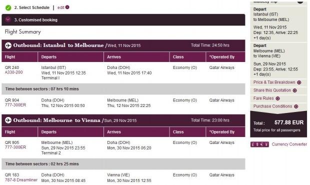 Istanbul >> Melbourne >> Beč, na Qatar Airways stranicama