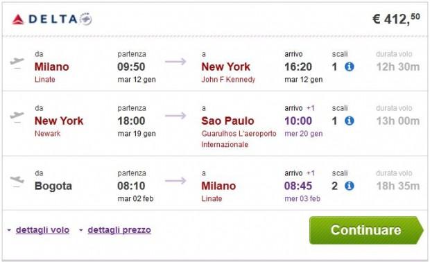 Milano >> New York >> Sao Paulo ili Rio de Janeiro - Bogota >> Milano