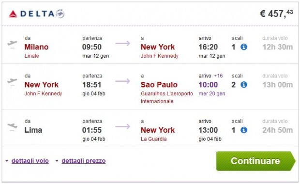 Milano >> New York >> Sao Paulo ili Rio de Janeiro - Lima >> Milano