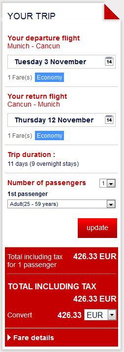 Minhen >> Cancun >> Minhen, direktno na Air France stranicama
