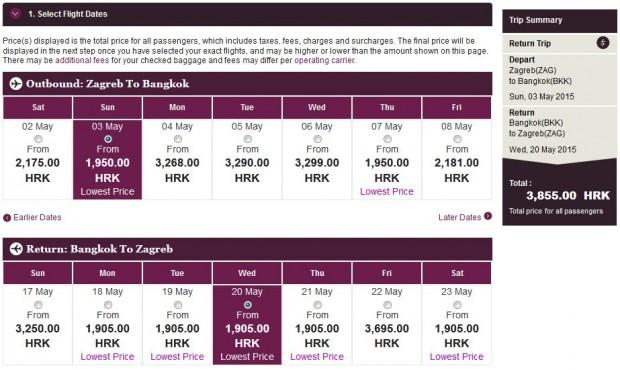 Zagreb >> Bangkok >> Zagreb, na Qatar stranicama