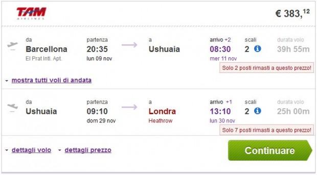 Barcelona >> Ushuaia >> London