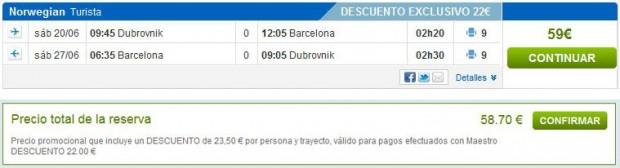 Dubrovnik >> Barcelona >> Dubrovnik, na rumbo.es stranicama