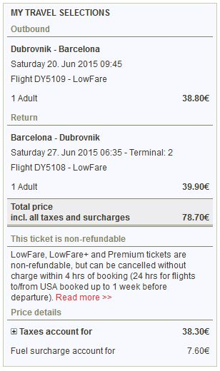 Dubrovnik >> Barcelona >> Dubrovnik, na Norwegian stranicama