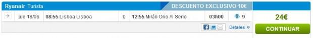 Lisabon >> Milano (Bergamo), na rumbo.es stranicama