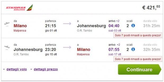 Milano >> Johannesburg >> Milano