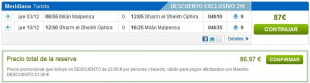 Milano >> Sharm el Sheikh >> Milano