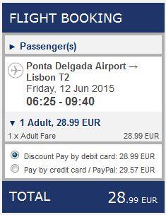 Ponta Delgada >> Lisabon, na Ryanair stranicama