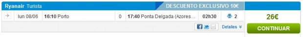 Porto >> Ponta Delgada, na rumbo.es stranicama
