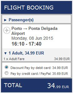 Porto >> Ponta Delgada, na Ryanair stranicama
