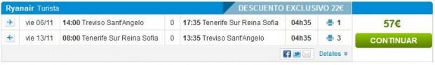 Venecija (Treviso) >> Tenerife (South) >> Venecija (Treviso)