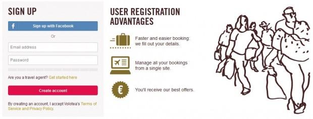 Registracija u Volotea Share and win program