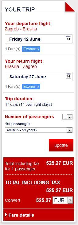 Zagreb >> Brasilia >> Zagreb, na Air France stranicama