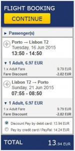 Porto >> Lisabon >> Porto, na Ryanair stranicama