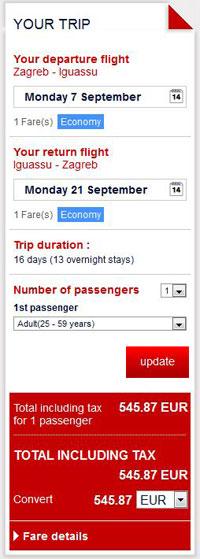 Zagreb >> Iguassu Falls >> Zagreb, na Air France stranicama