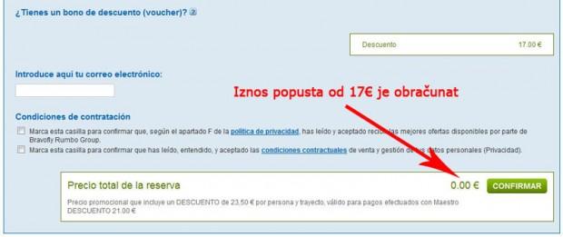Popust je obračunat na rumbo.es stranicama