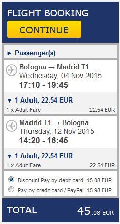 Bolonja >> Madrid >> Bolonja, na Ryanair stranicama