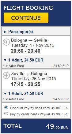 Bolonja >> Sevilja >> Bolonja, na Ryanair stranicama
