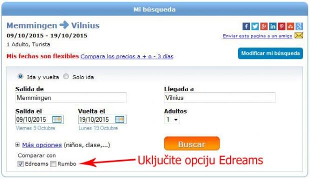 Uključite check box eDreams na Jetcost stranicama