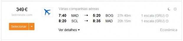 Madrid >> Bogota -- Santiago >> Madrid
