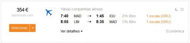 Madrid >> Iguazú -- Lima >> Madrid