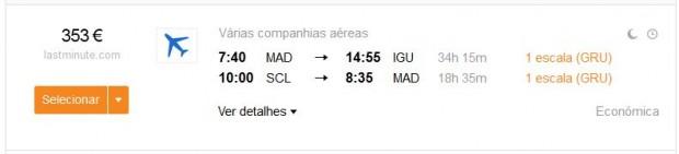 Madrid >> Iguazú -- Santiago >> Madrid