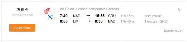 Madrid >> Sao Paulo -- Lima >> Madrid
