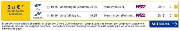 Minhen (Memmingen) >> Vilnius >> Minhen (Memmingen), na eDreams stranicama