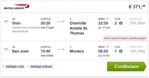 Oslo >> Charlotte Amalie -- San Juan >> Minhen