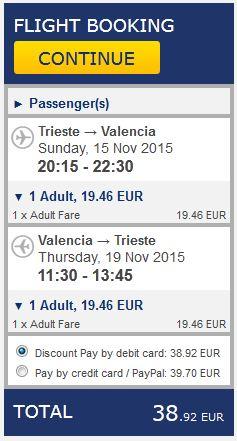 Trst >> Valencia >> Trst, na Ryanair stranicama
