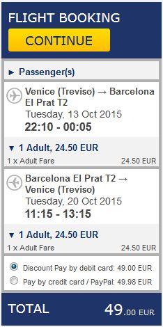 Venecija >> Barcelona >> Venecija, na Ryanair stranicama