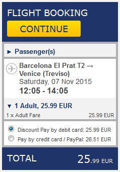 Barcelona >> Venecija, na Ryanair stranicama