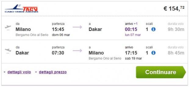 Milano (Bergamo) >> Dakar >> Milano (Bergamo)
