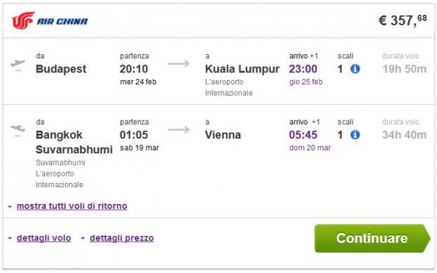 Budapest >> Kuala Lumpur -- Bangkok >> Beč
