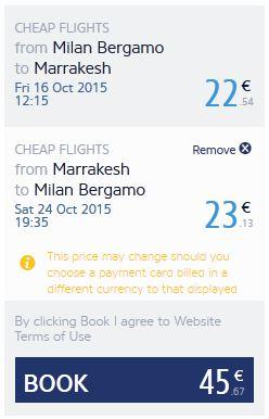 Milano (Bergamo) >> Marakeš >> Milano (Bergamo)