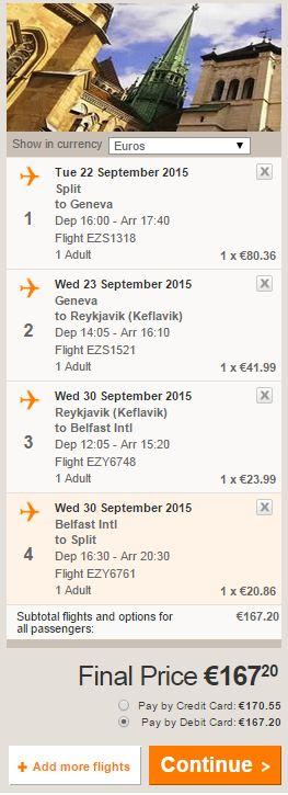 Split >> Ženeva >> Reykjavik >> Belfast >> Split, za jednu osobu