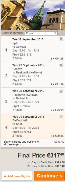Split >> Ženeva >> Reykjavik >> Belfast >> Split, za dvije osobe