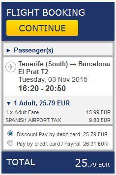 Tenerife >> Barcelona, na Ryanair stranicama