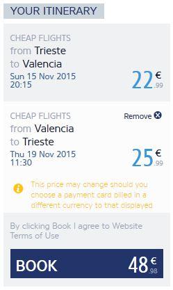 Trst >> Valencia >> Trst, direktno na Ryanair stranicama
