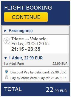 Trst >> Valencia, na Ryanair stranicama