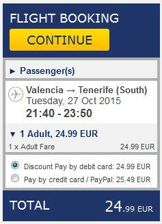 Valencia >> Tenerife, na Ryanair stranicama