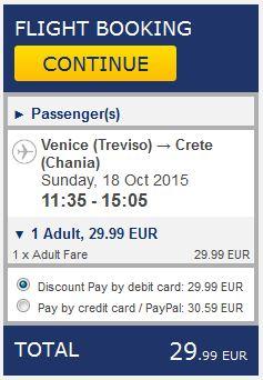 Venecija >> Chania, na Ryanair stranicama