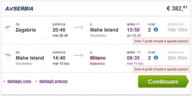 Zagreb >> Mahe (Sejšeli) >> Milano