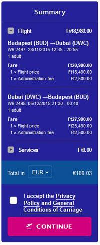 Budimpešta >> Dubai >> Budimpešta, na Wizzair stranicama