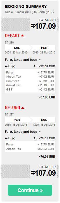 Kuala Lumpur >> Perth >> Kuala Lumpur