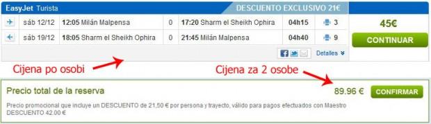 Milano >> Sharm el Sheikh >> Milano, na rumbo.es stranicama