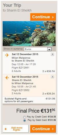Milano >> Sharm el Sheikh >> Milano, na Easyjet stranicama