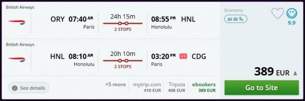 Pariz >> Honolulu >> Pariz